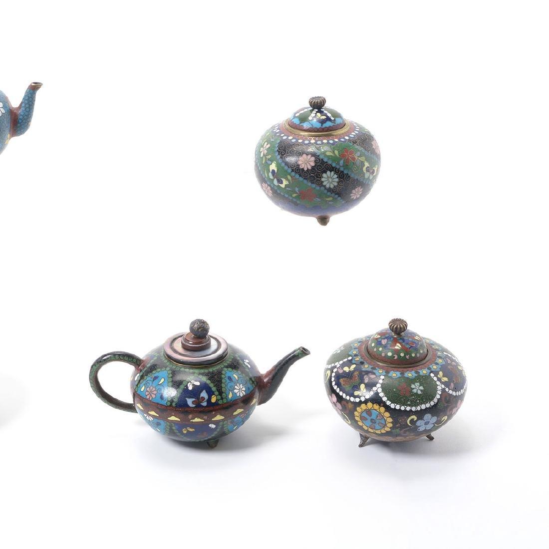Ten Japanese Cloisonne Enamel Teapots, Meiji Period - 2