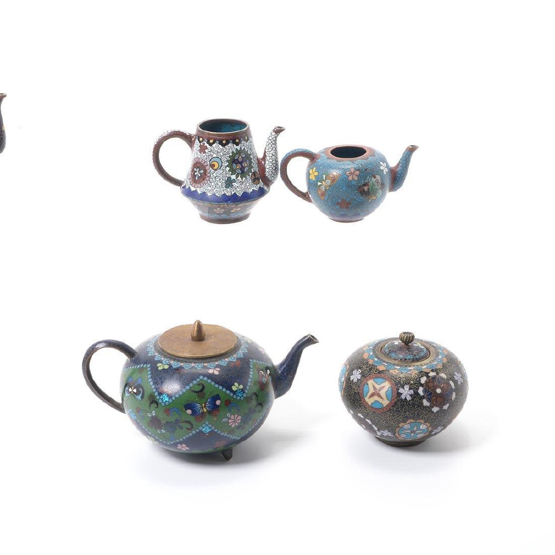 Ten Japanese Cloisonne Enamel Teapots, Meiji Period - 3
