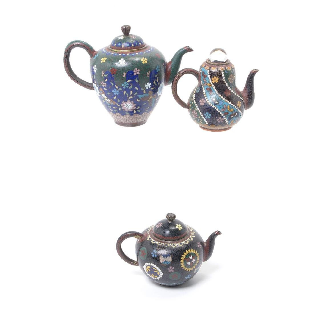 Ten Japanese Cloisonne Enamel Teapots, Meiji Period - 4