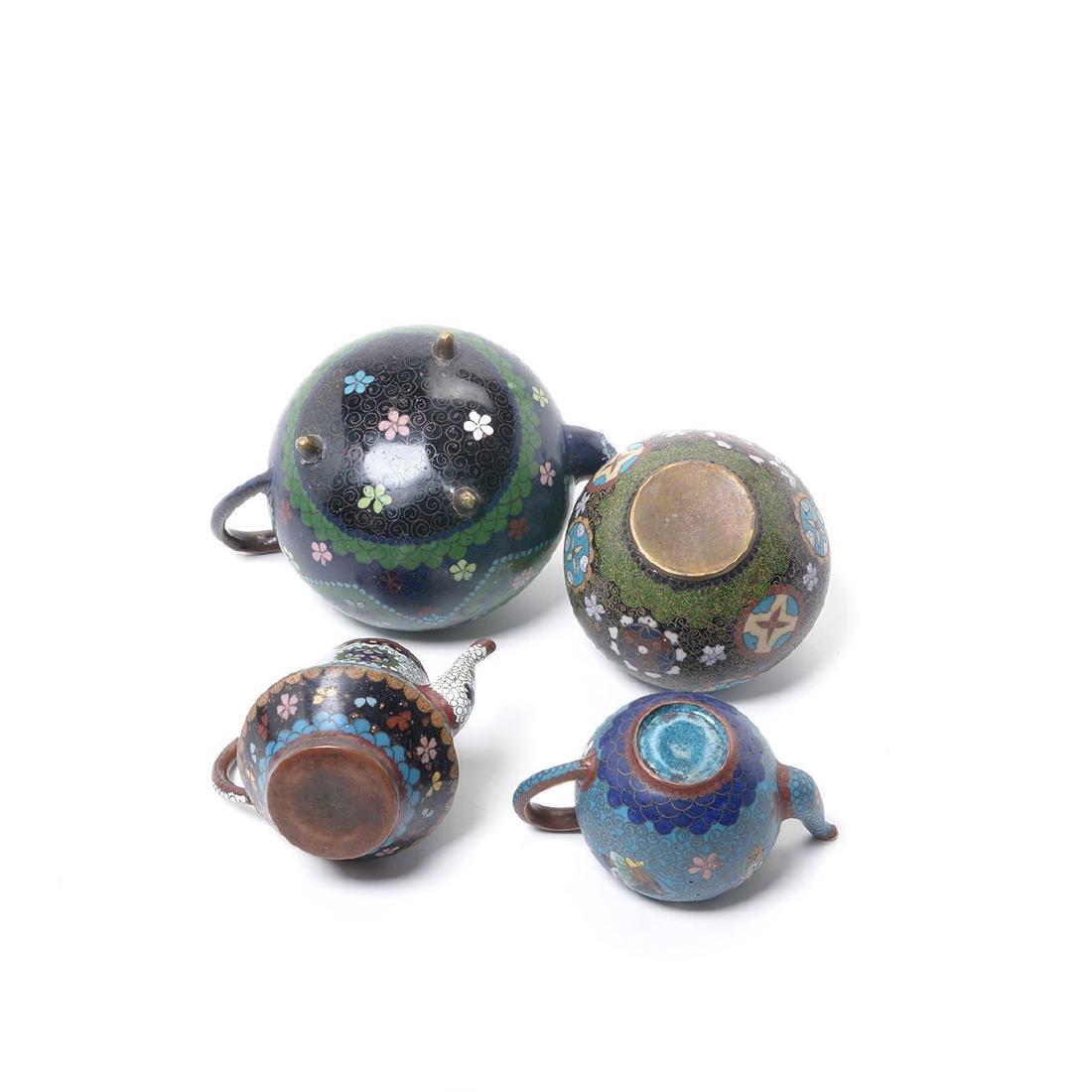 Ten Japanese Cloisonne Enamel Teapots, Meiji Period - 6