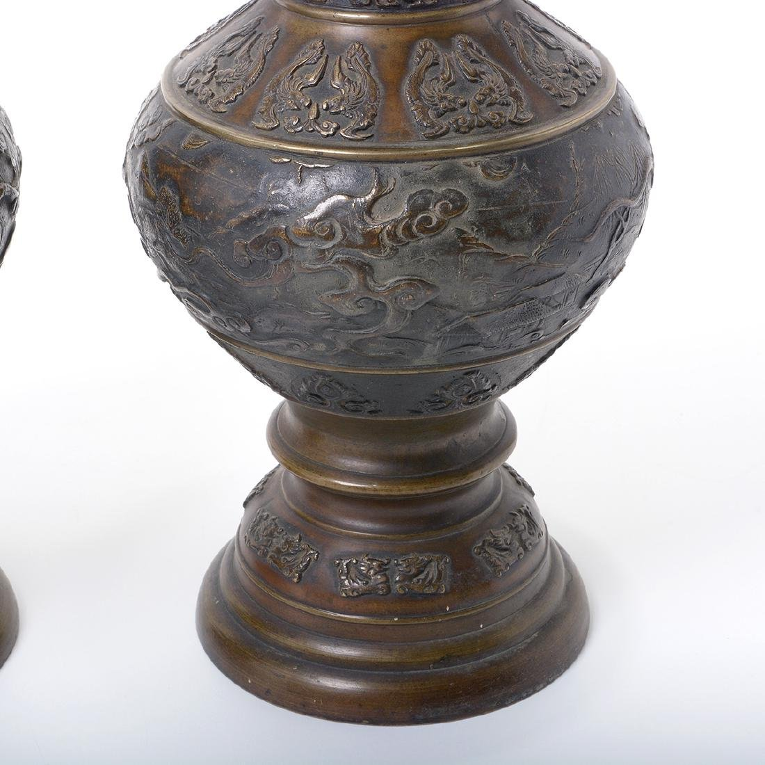 Pair of Japanese Bronze 'Dragon' Handled Vases - 3