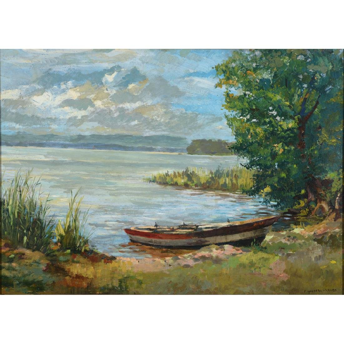"Fritz Halberg-Krauss ""Summer Day, Lake Contance"" oil"