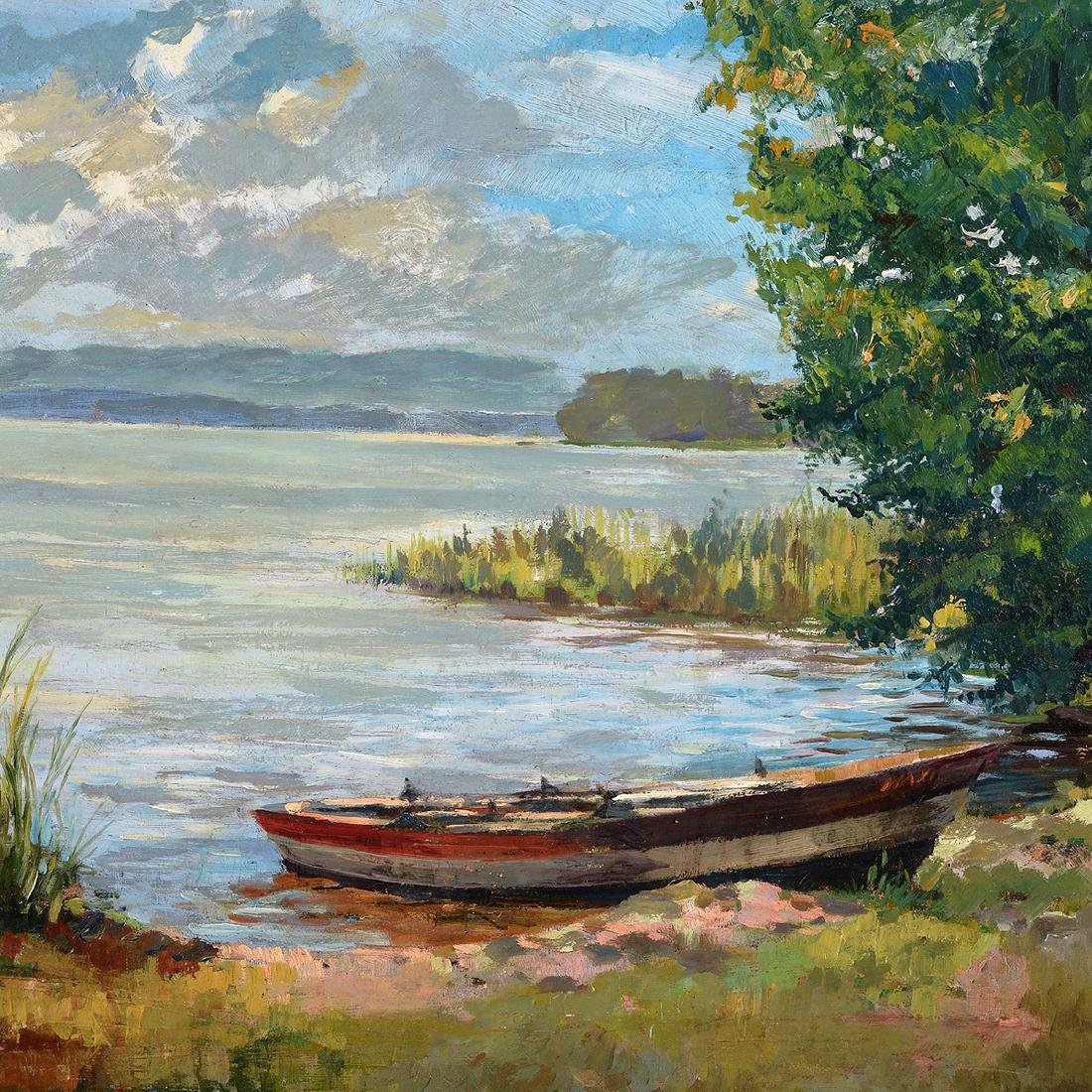 "Fritz Halberg-Krauss ""Summer Day, Lake Contance"" oil - 3"