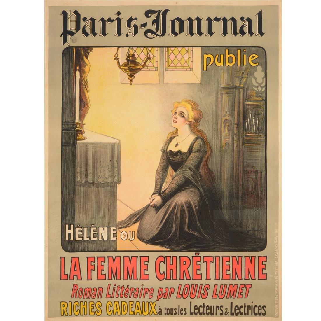 "Gallicelo Poster "" the Paris Journal""  color lithograph"
