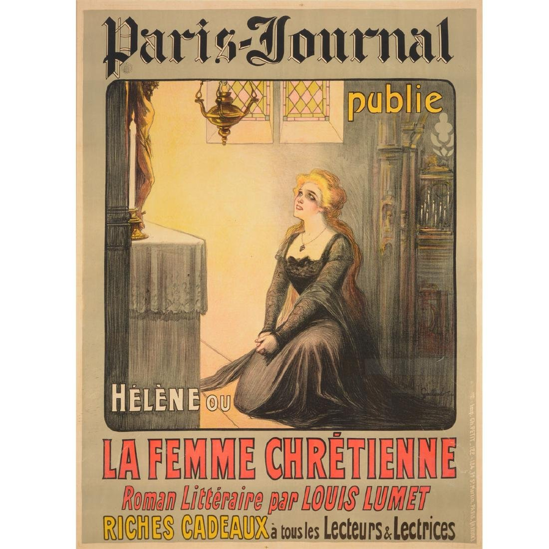 "Gallicelo Poster "" the Paris Journal""  color lithograph"