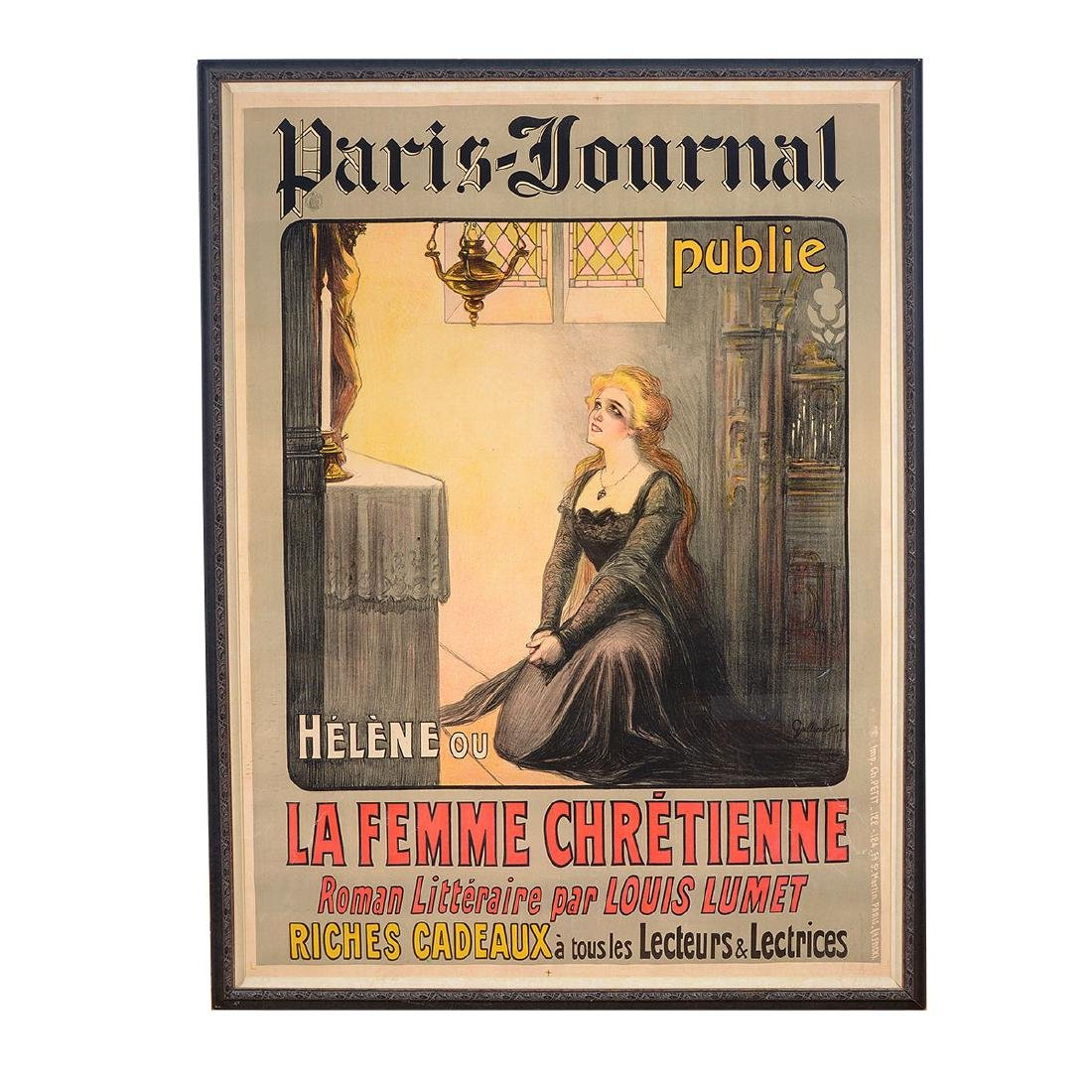 "Gallicelo Poster "" the Paris Journal""  color lithograph - 5"