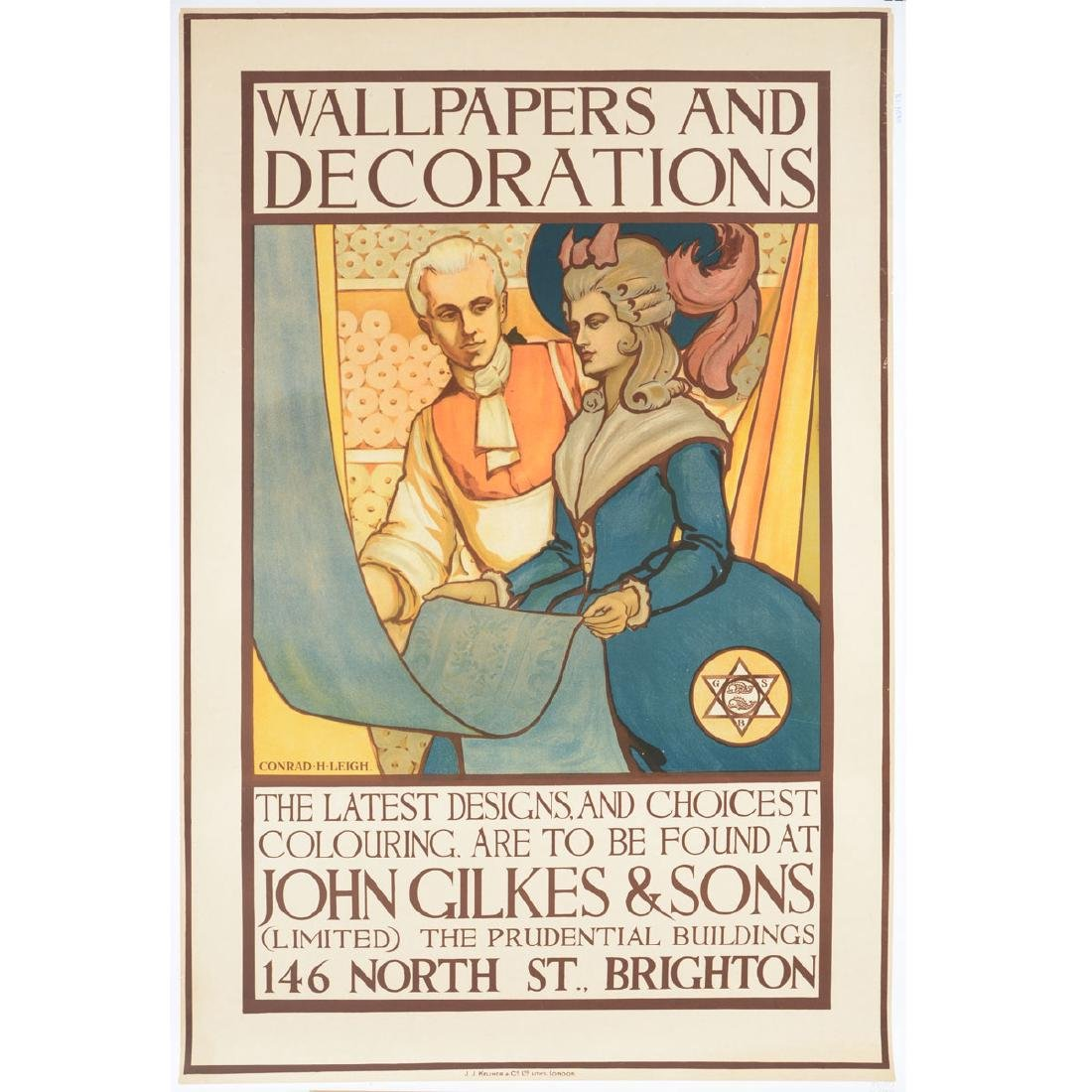 """After Conrad H. Leigh """"Wallpaper"""" lithograph Ad poster"""