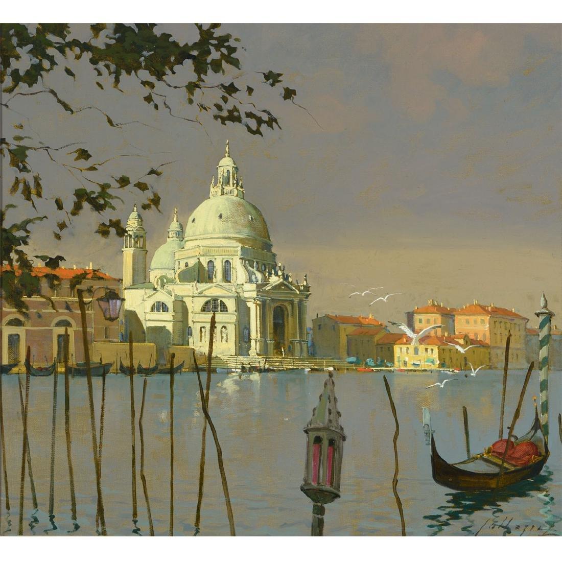 """Lucio Sollazzi """"Madona Dell Salute"""" oil on canvas"""
