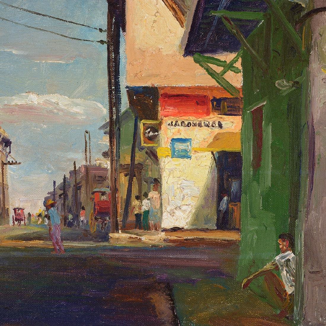 """Elias Laxa 2 """"Street Scene"""" oil on board, Filipino Art - 3"""