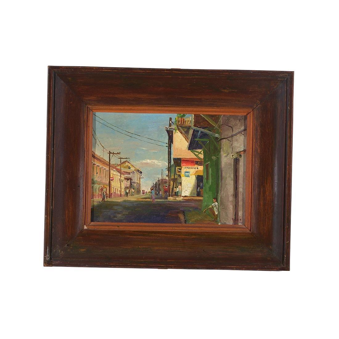 """Elias Laxa 2 """"Street Scene"""" oil on board, Filipino Art - 4"""
