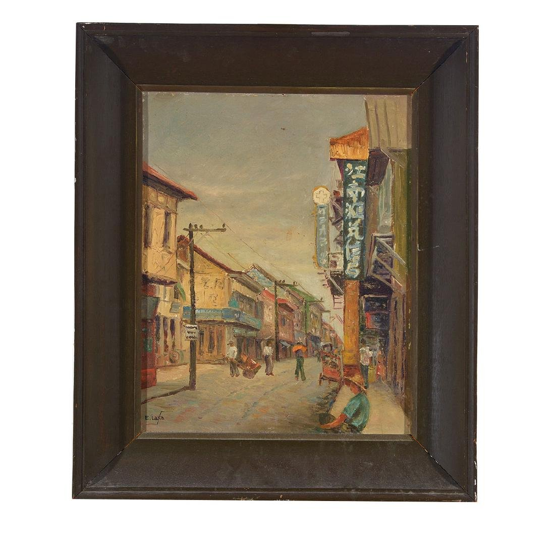"Elias Laxa 2 ""Street Scene"" oil on board, Filipino Art - 7"