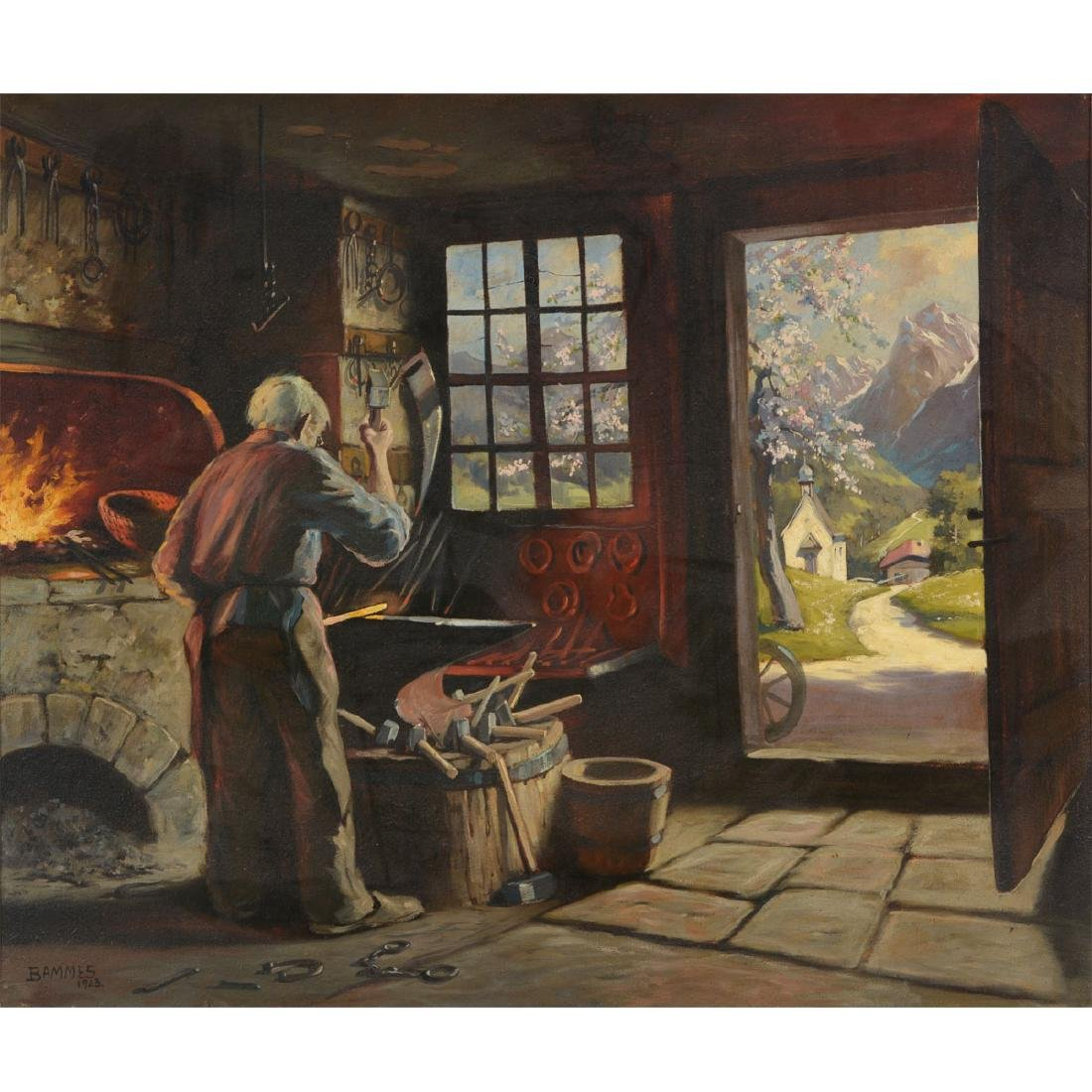 "Martin Bammes ""The Blacksmith"" oil on canvas"
