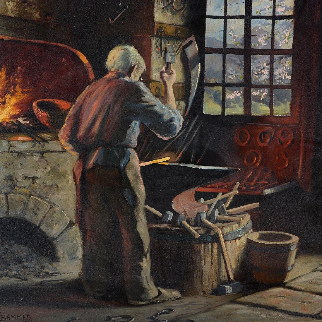 "Martin Bammes ""The Blacksmith"" oil on canvas - 3"