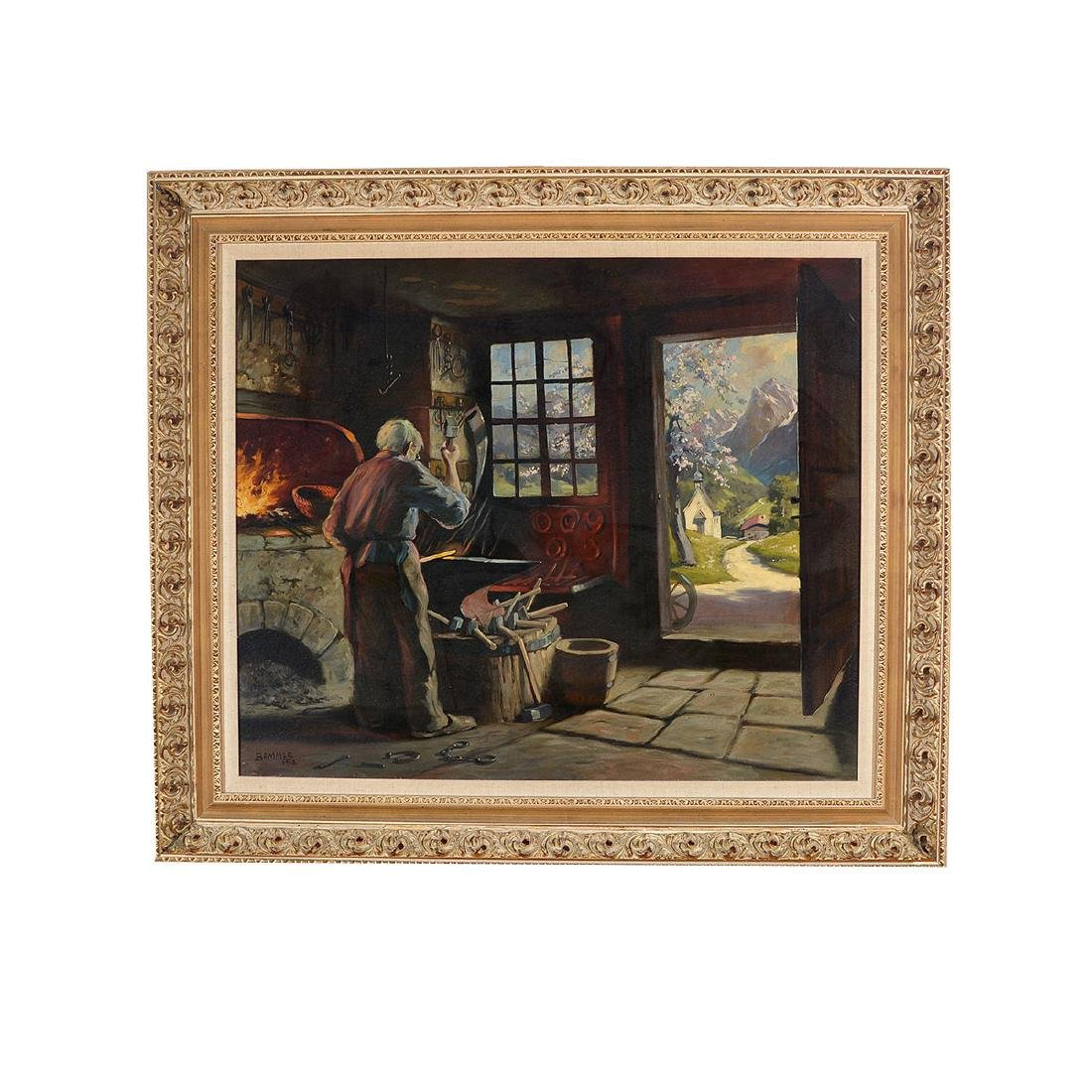 "Martin Bammes ""The Blacksmith"" oil on canvas - 4"