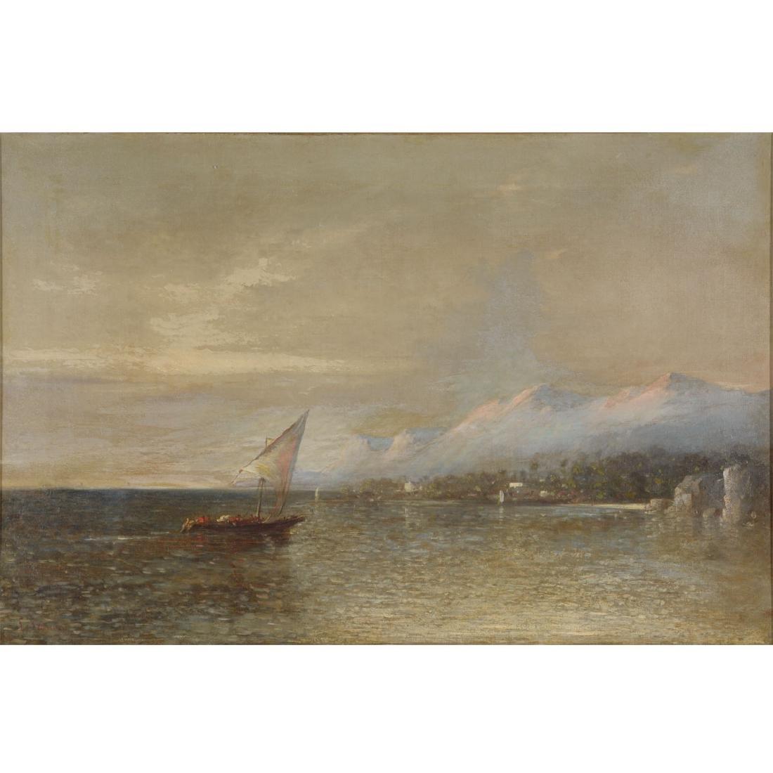"""European School """"Harbor Scene"""" oil on canvas"""