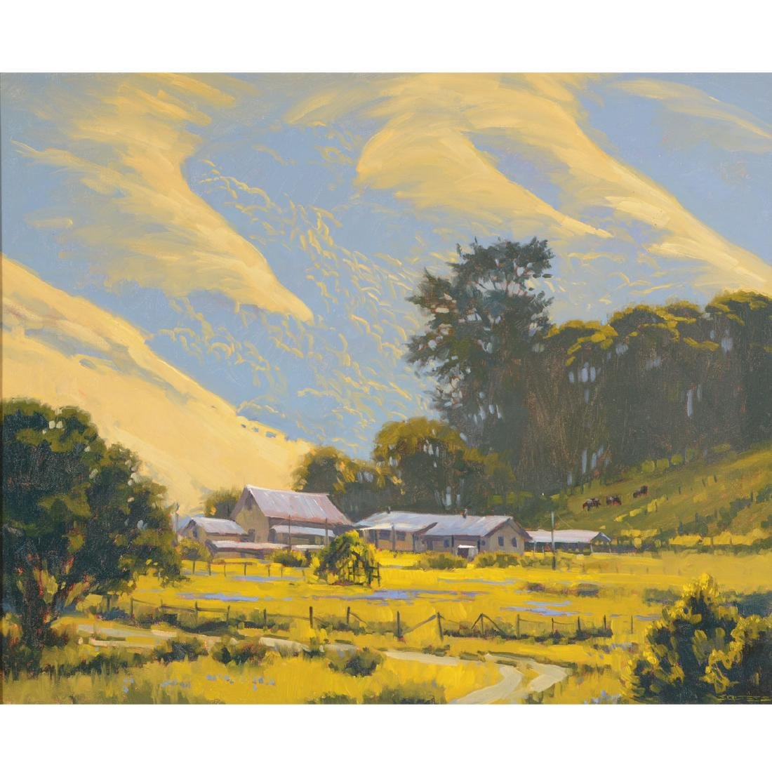 """J. thomas Soltesz """"Black Mountain Ranch"""" oil on canvas"""