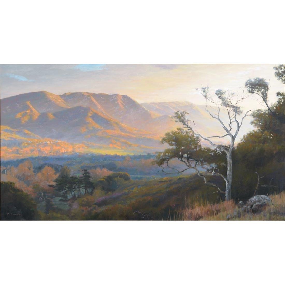 "Richard Schloss ""Sunset Hills"" oil on canvas"