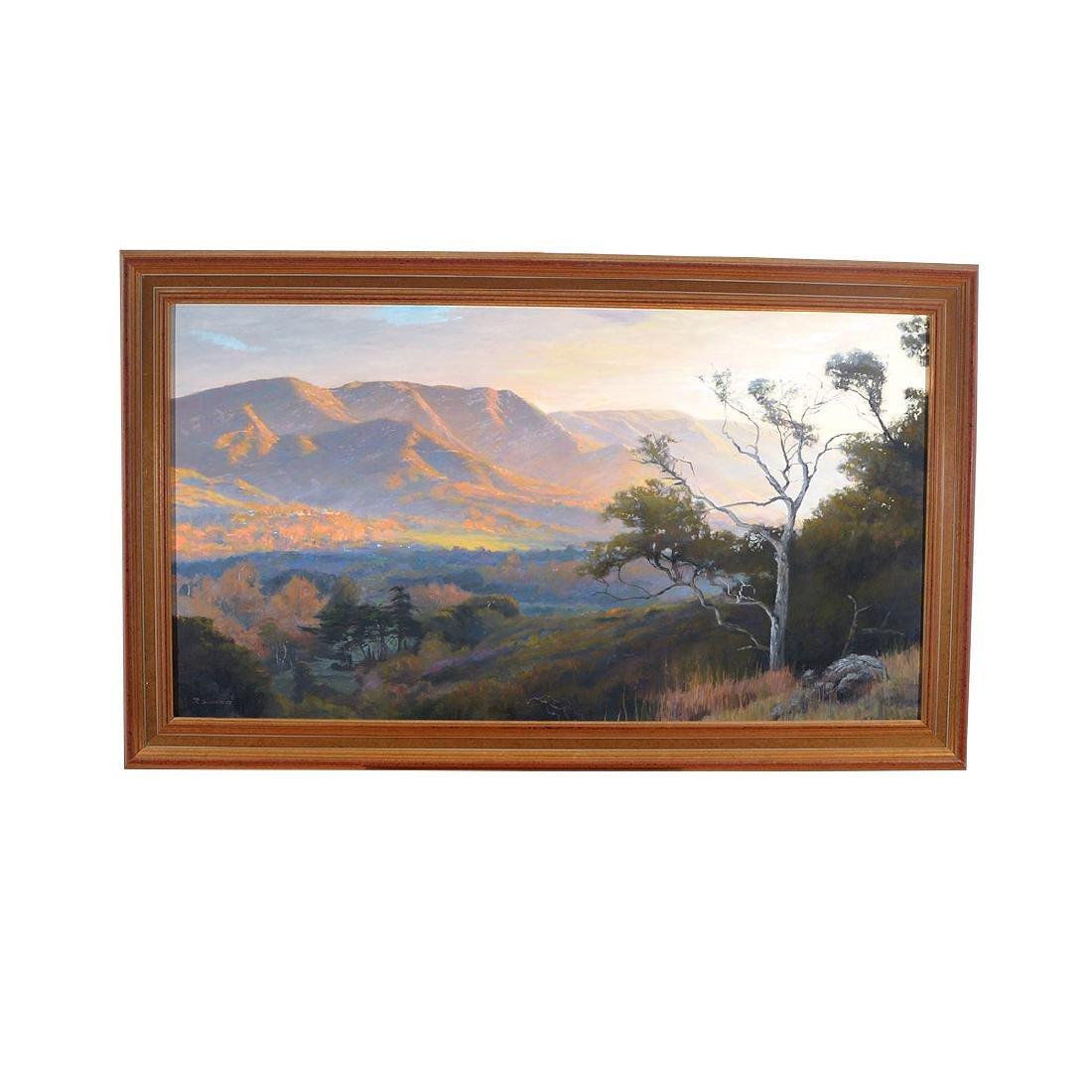 "Richard Schloss ""Sunset Hills"" oil on canvas - 4"