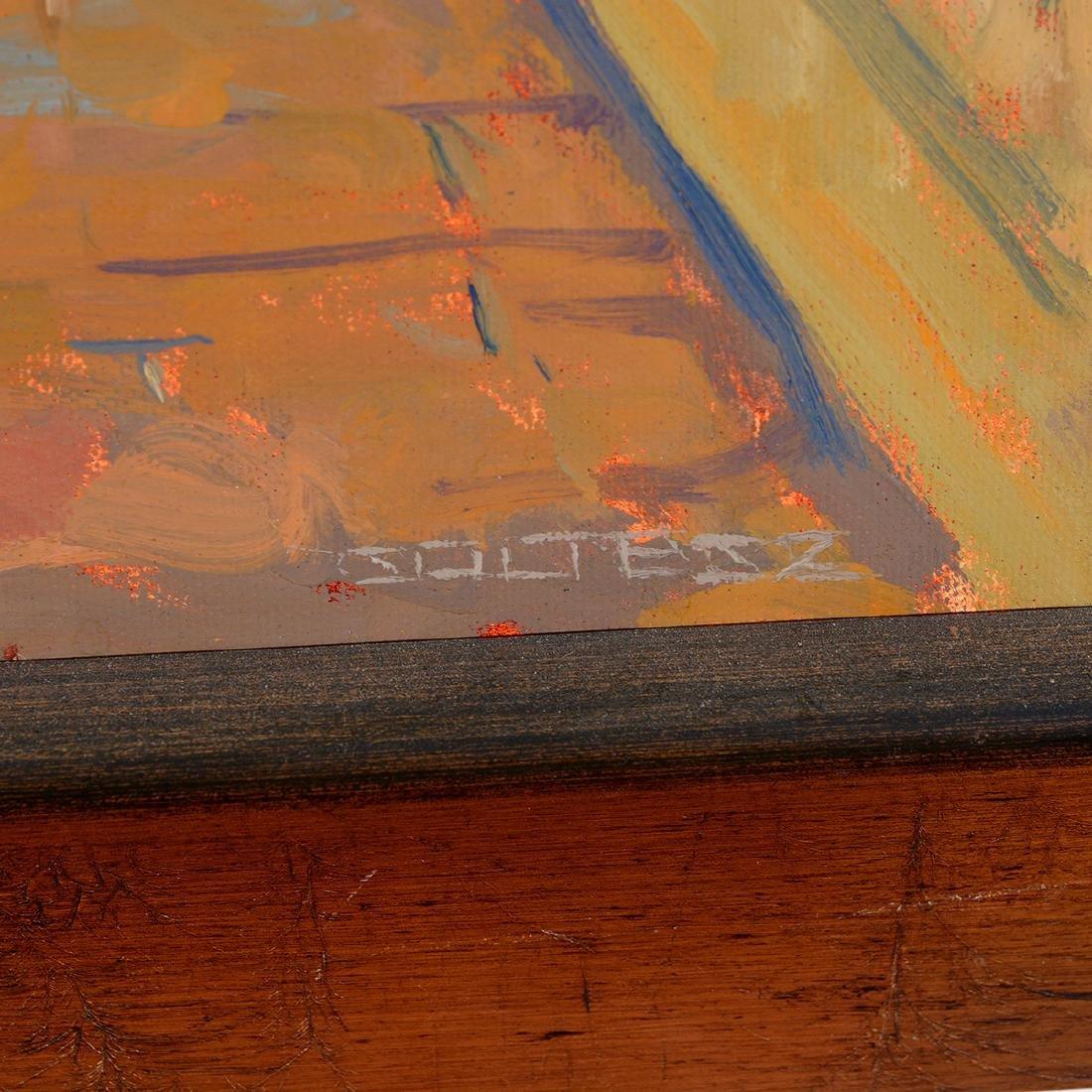 "J. Thomas Soltesz ""Blue Bench at Capistrano"" oil - 2"