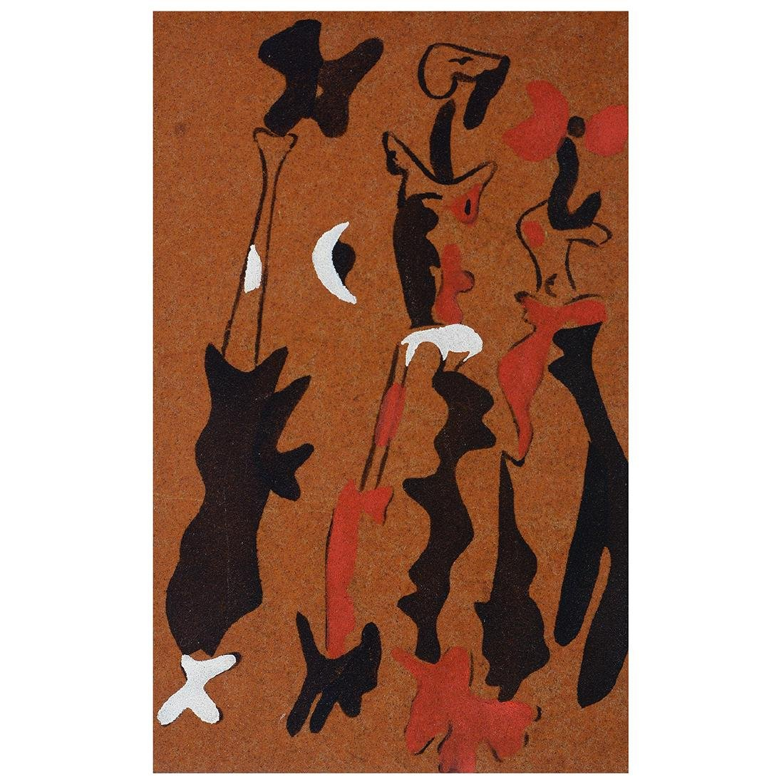 "Joan Miro ""Untitled 1937"" color pochoir on sandpaper"