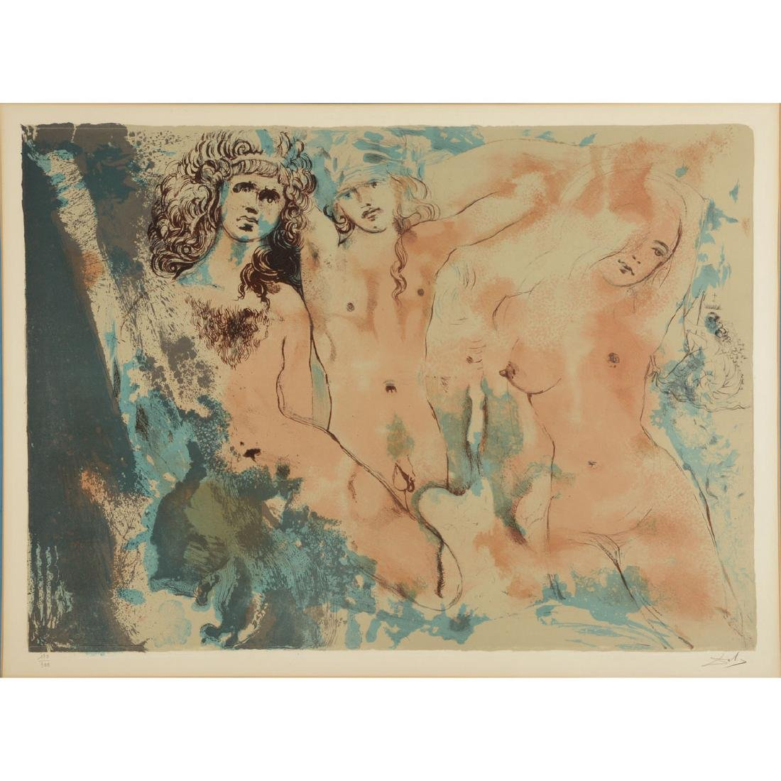 "Salvador Dali ""Three Hippies"" lithograph"
