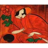 Linda Le Kinff Woman in Red oil on board French Art