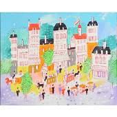 Charles Cobelle Paris Street Scene oil on canvas