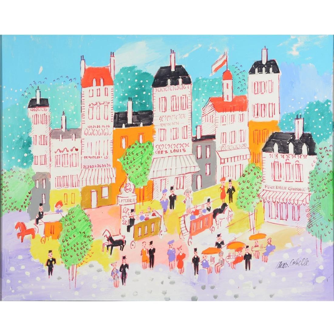 """Charles Cobelle """"Paris Street Scene"""" oil on canvas"""