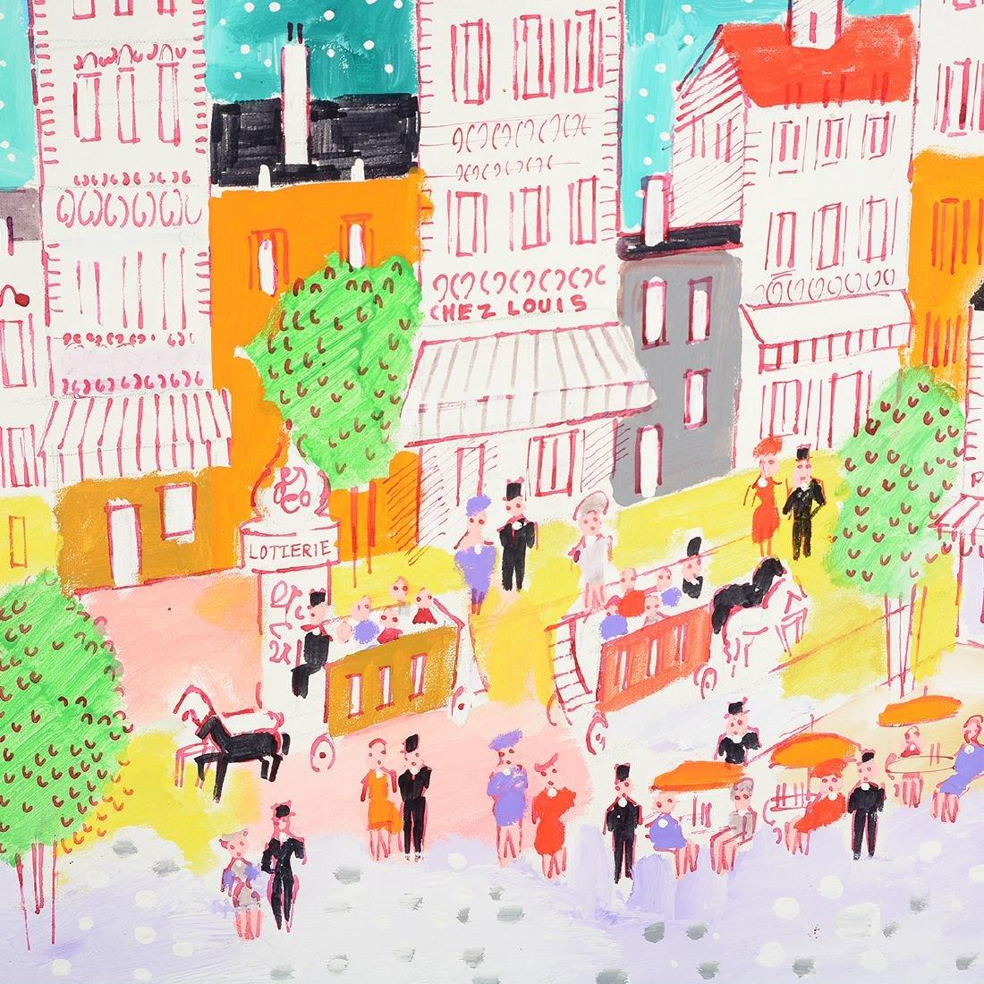 """Charles Cobelle """"Paris Street Scene"""" oil on canvas - 3"""