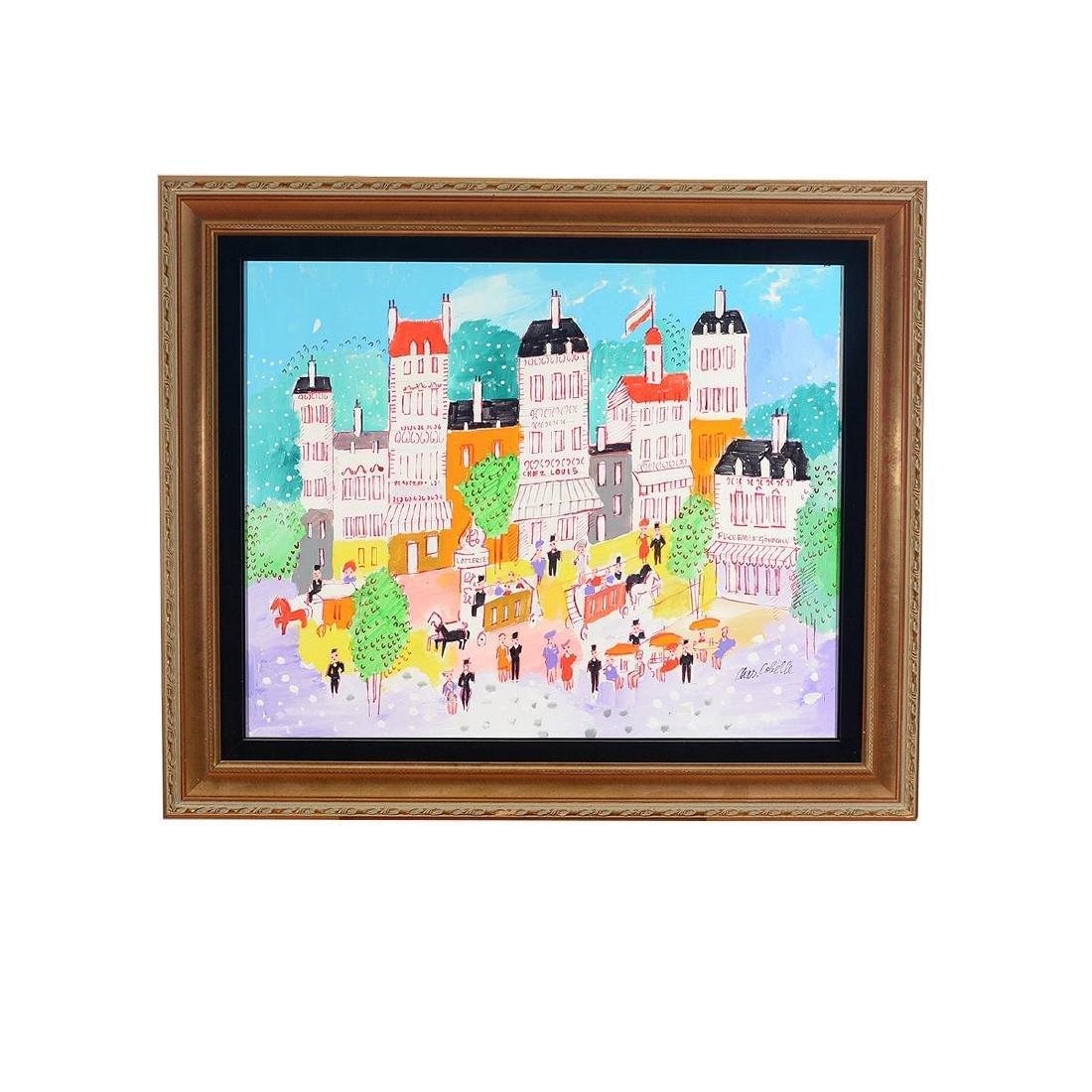 """Charles Cobelle """"Paris Street Scene"""" oil on canvas - 4"""