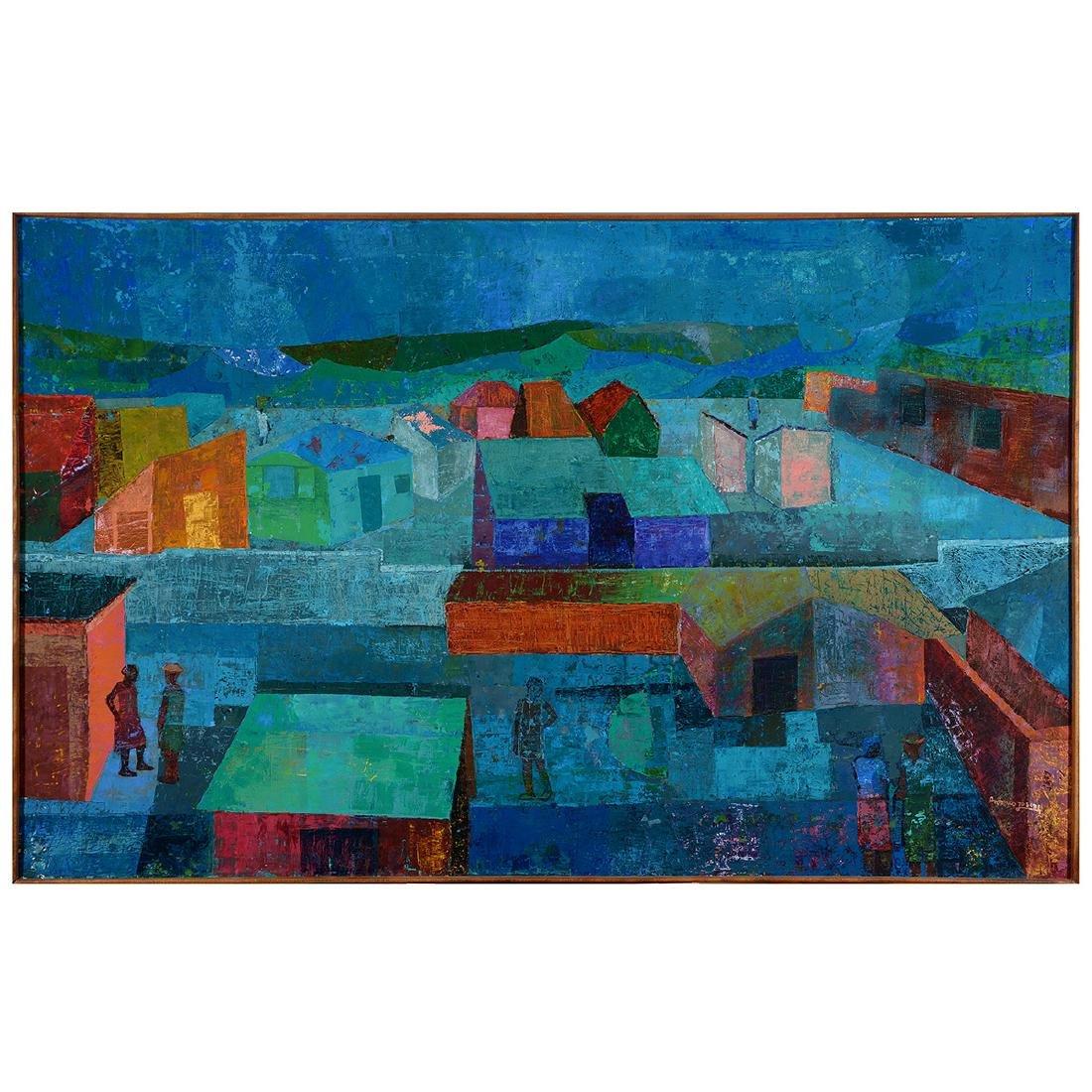 "Antonio Joseph, Haitian Art, ""Village"" oil"