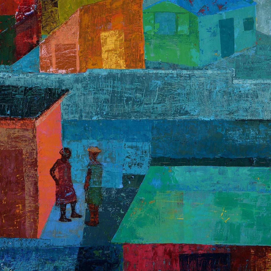 "Antonio Joseph, Haitian Art, ""Village"" oil - 3"