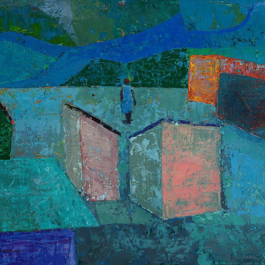 "Antonio Joseph, Haitian Art, ""Village"" oil - 4"