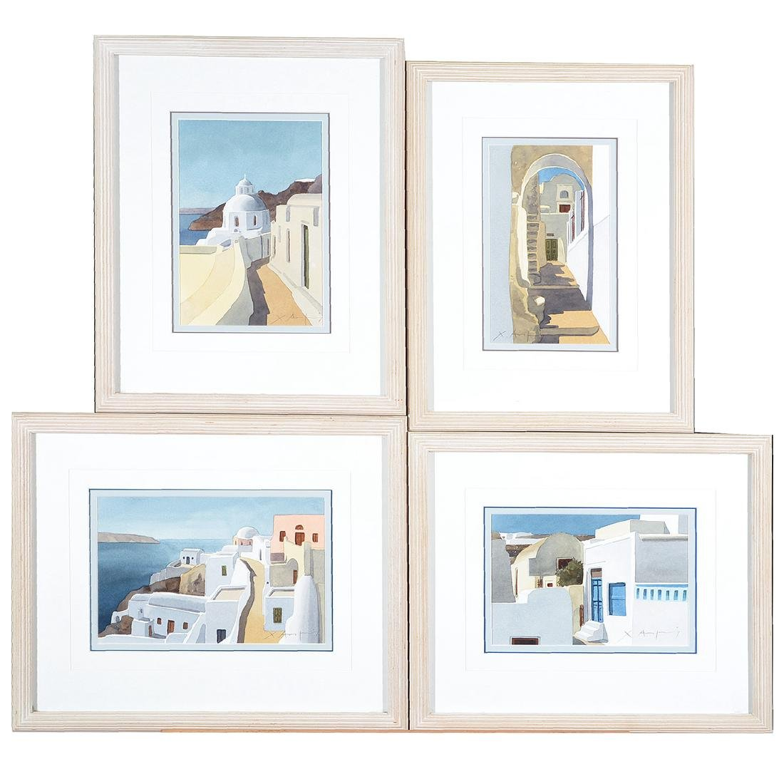 Four Christofos Asimis watercolors of Greece