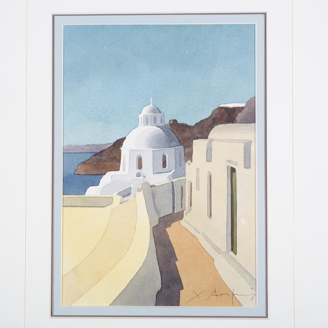 Four Christofos Asimis watercolors of Greece - 4