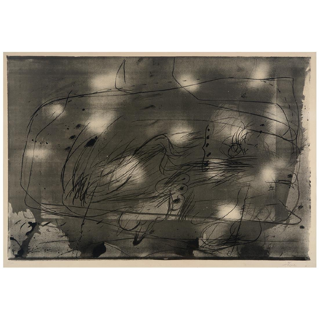 "Antoni T‡pies ""Untitled"" lithograph, Spanish Art"