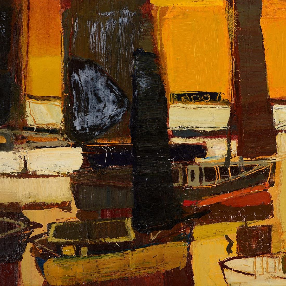 """Raimonds Staprans """"Yacht Harbor, Late Afternoon"""" oil - 3"""