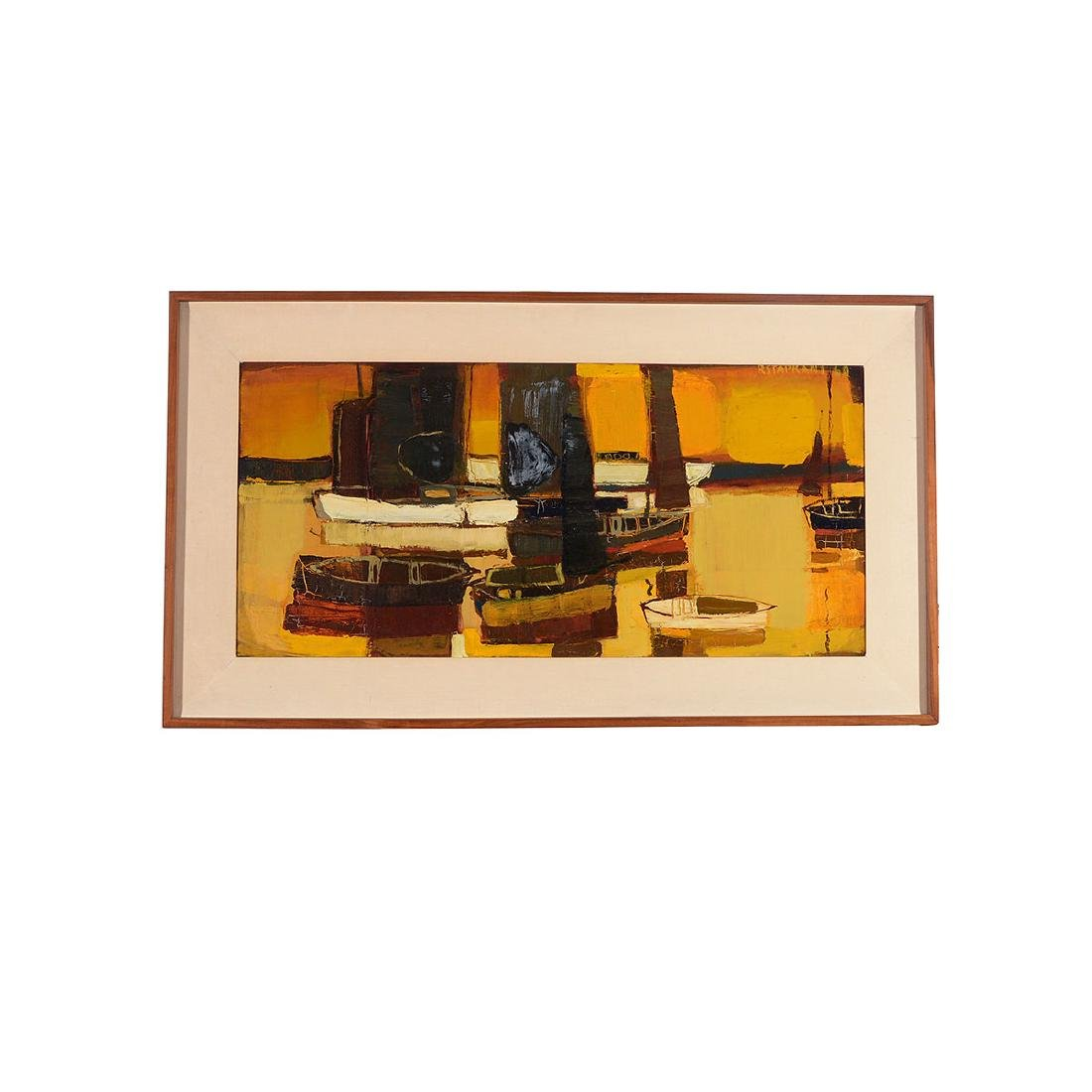 """Raimonds Staprans """"Yacht Harbor, Late Afternoon"""" oil - 4"""