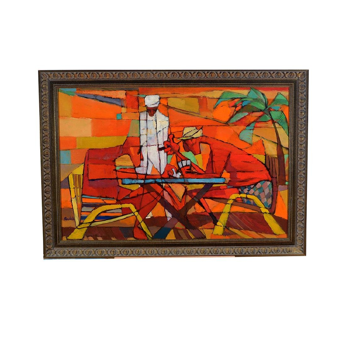 """Lester Rondell, """"Miani Gin Rummy"""" Oil painting - 4"""