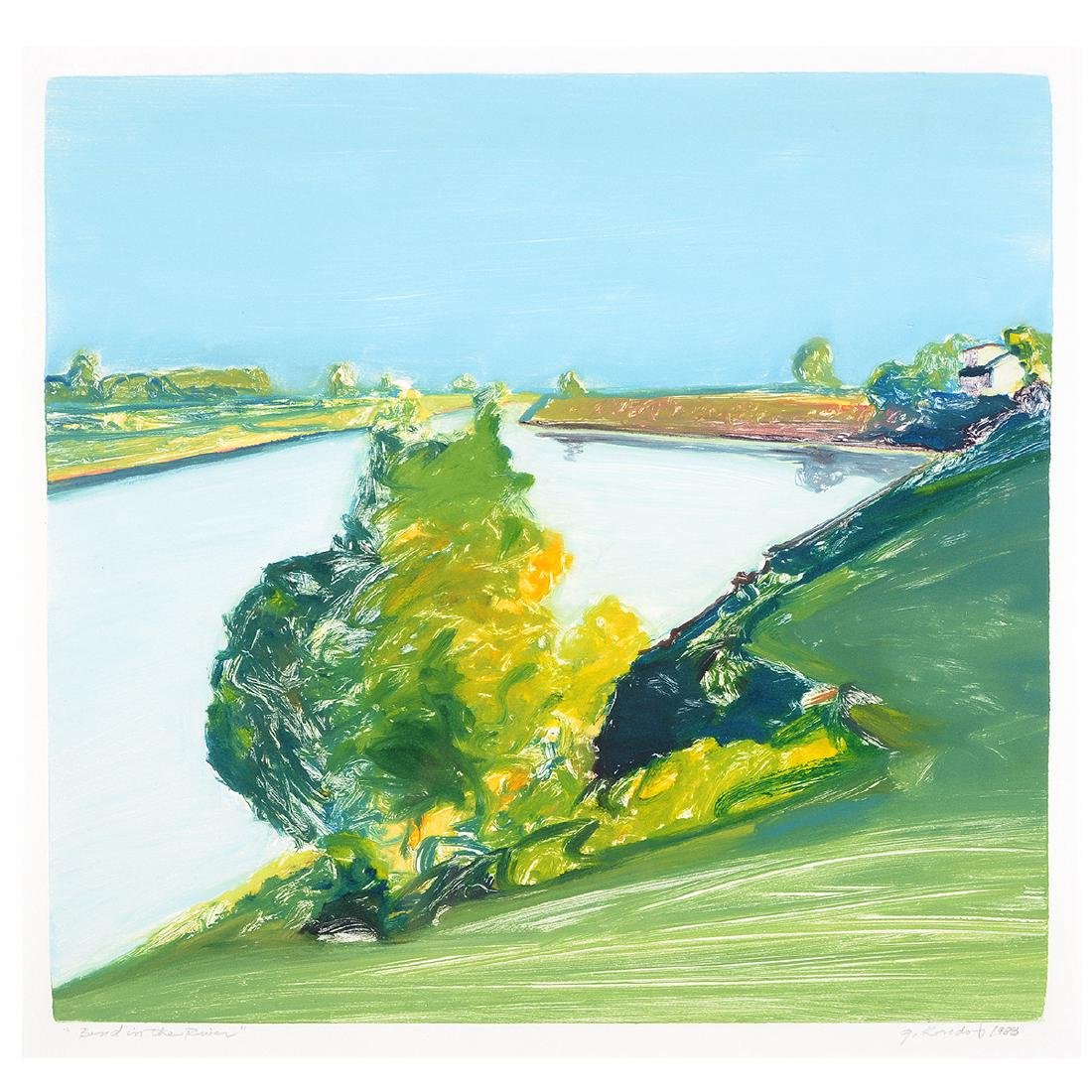 """Gregory Kondos """"Bend in the River"""" monotype"""