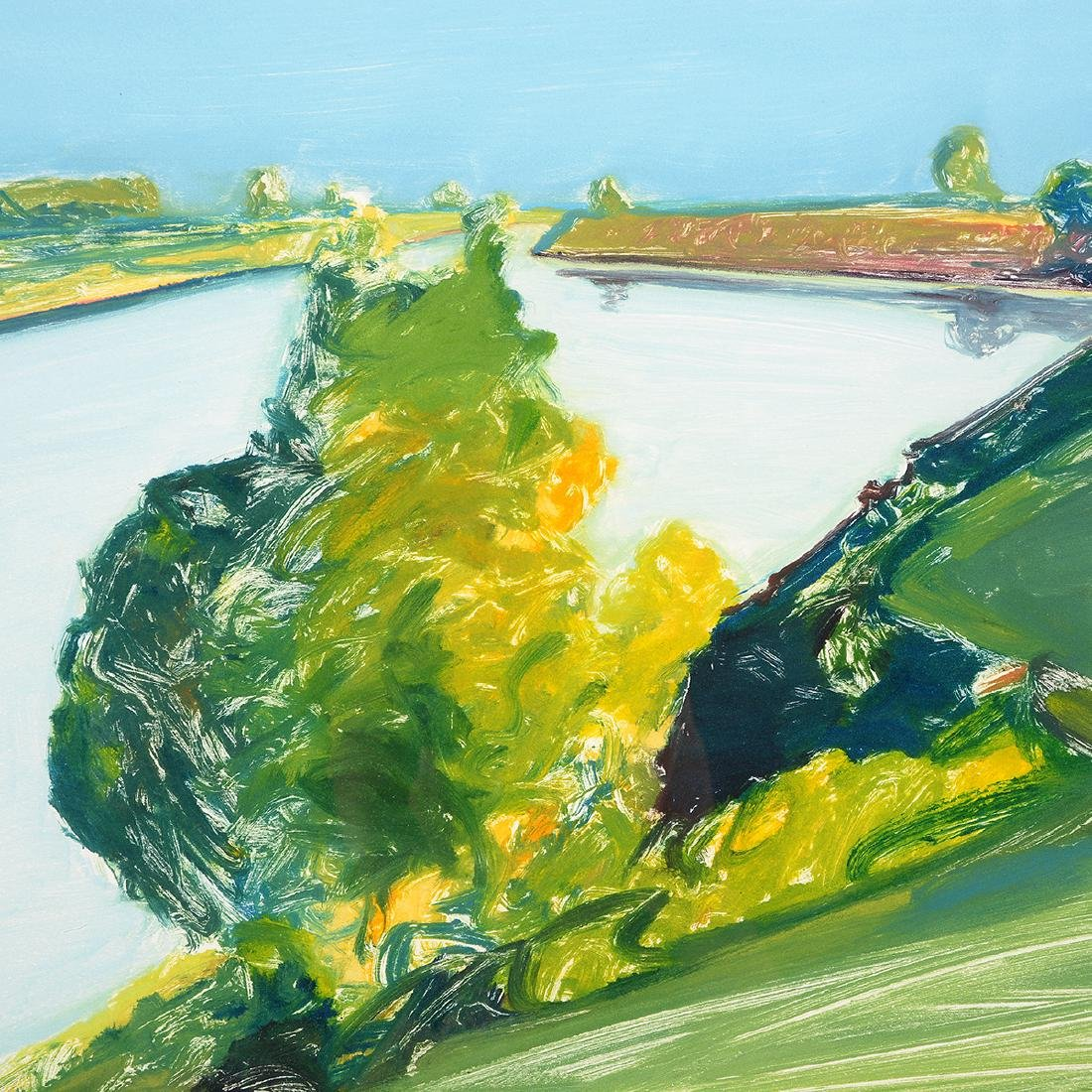 """Gregory Kondos """"Bend in the River"""" monotype - 3"""
