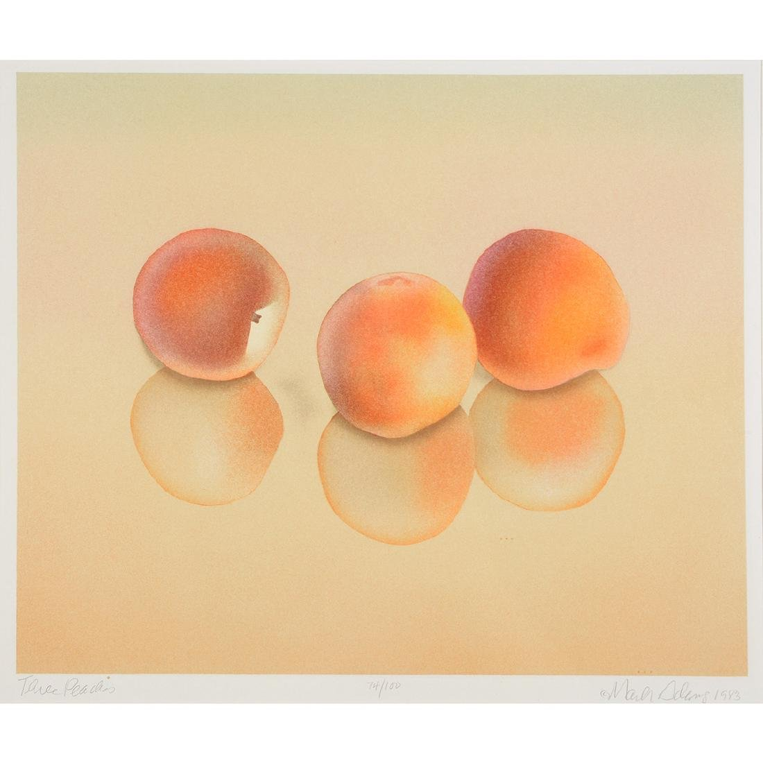 "Mark Adams ""Three Peaches"" color lithograph"