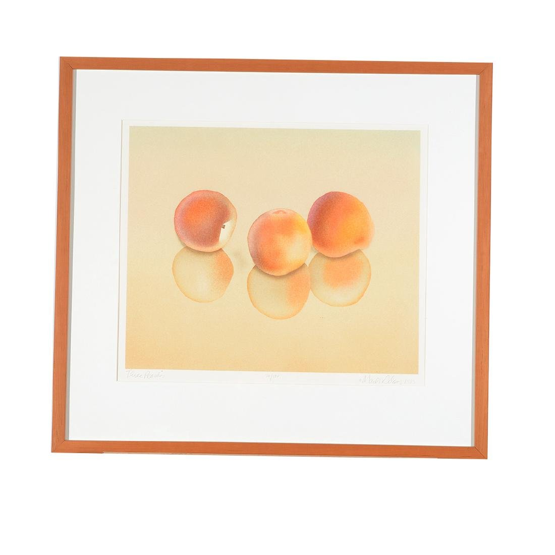 "Mark Adams ""Three Peaches"" color lithograph - 5"