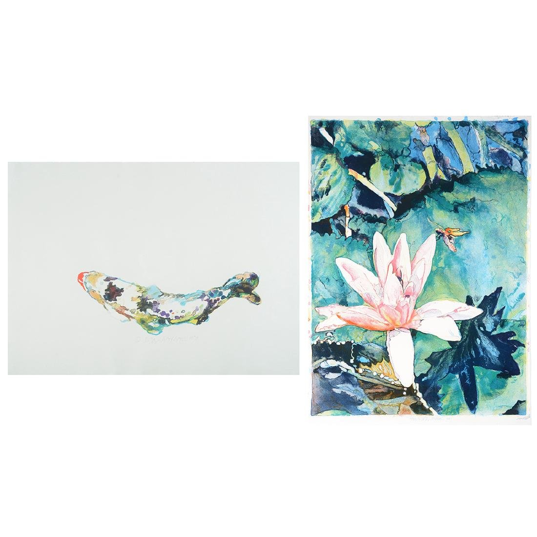 Joseph Raffael, Water lilies & Haiku Fish III lithos