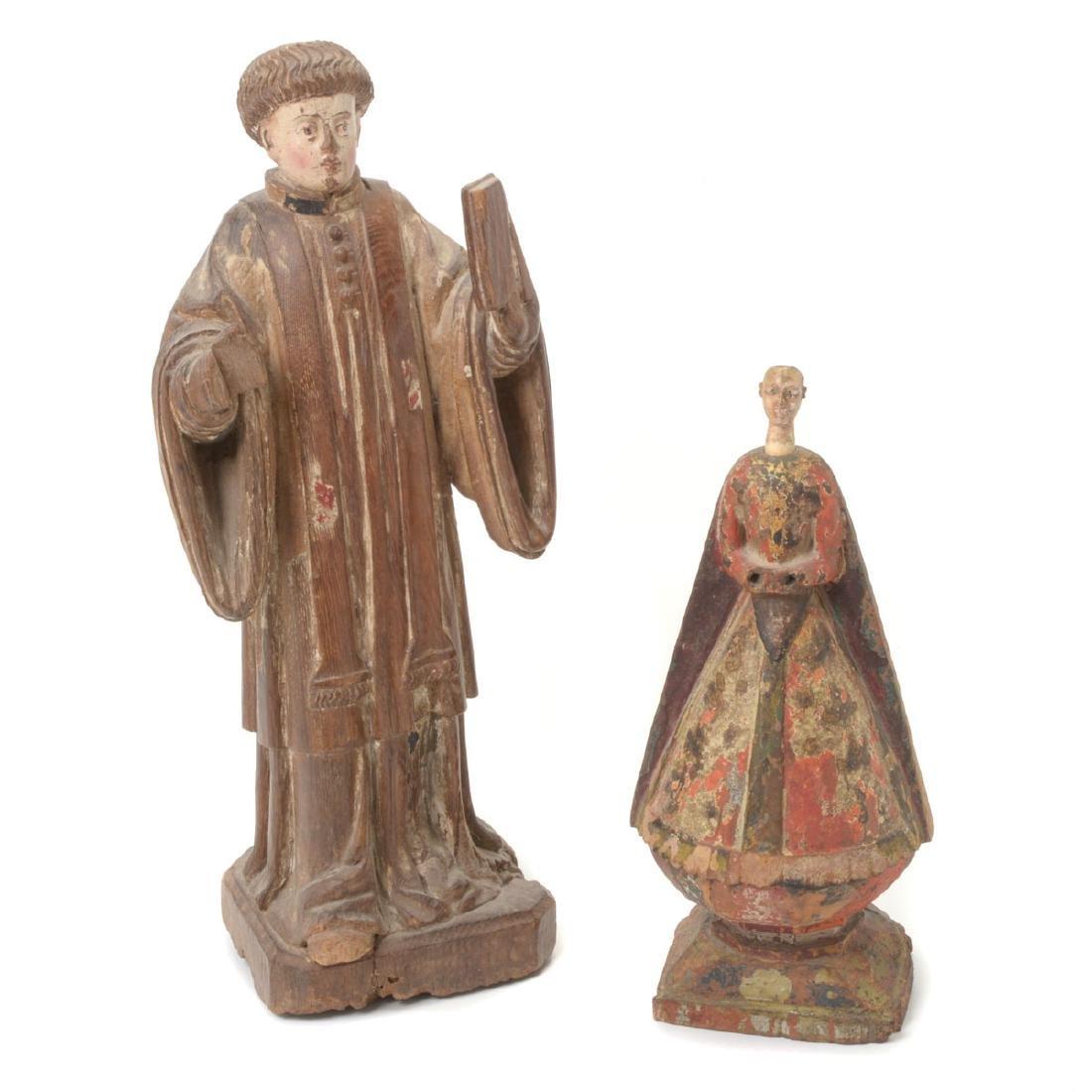 Two Spanish Colonial Polychrome Santos Figures