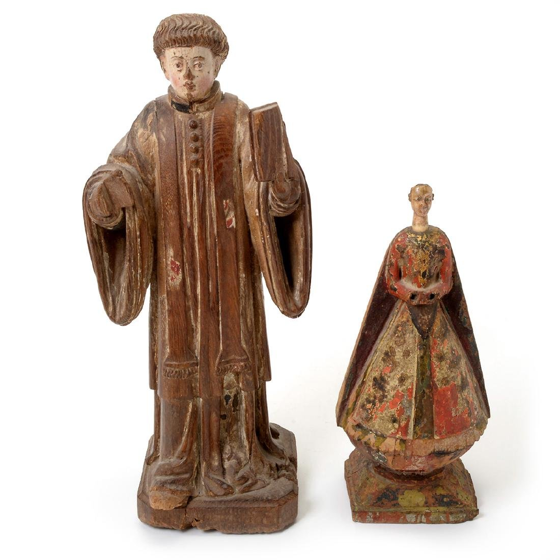 Two Spanish Colonial Polychrome Santos Figures - 6