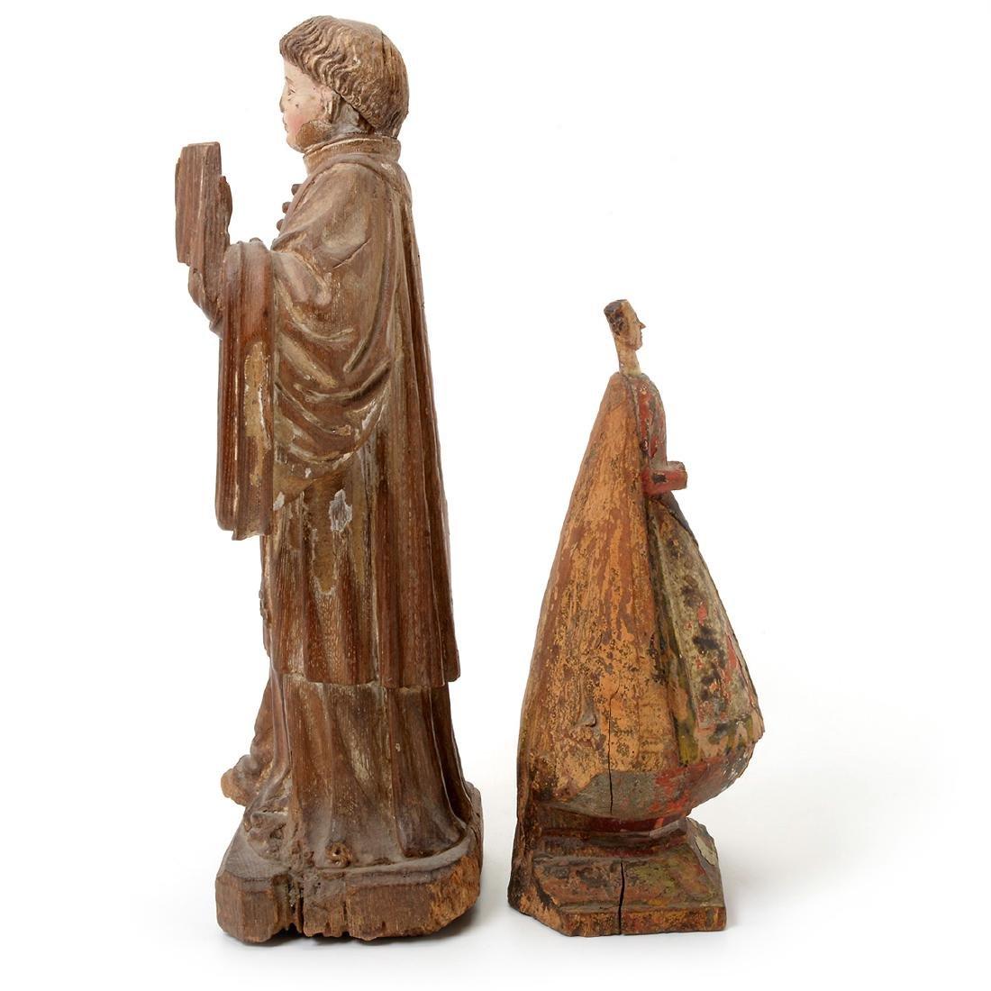 Two Spanish Colonial Polychrome Santos Figures - 7