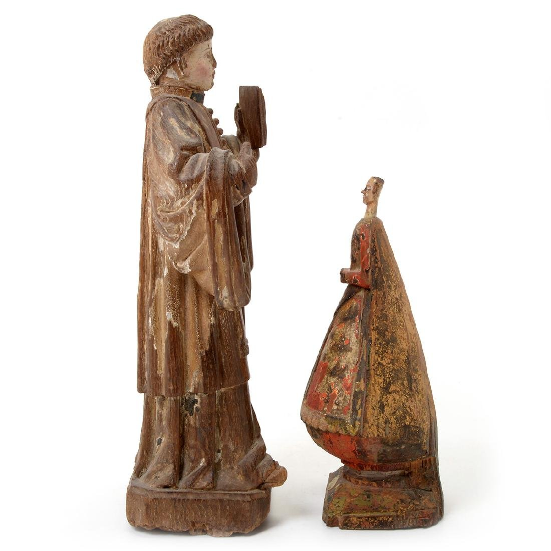 Two Spanish Colonial Polychrome Santos Figures - 9