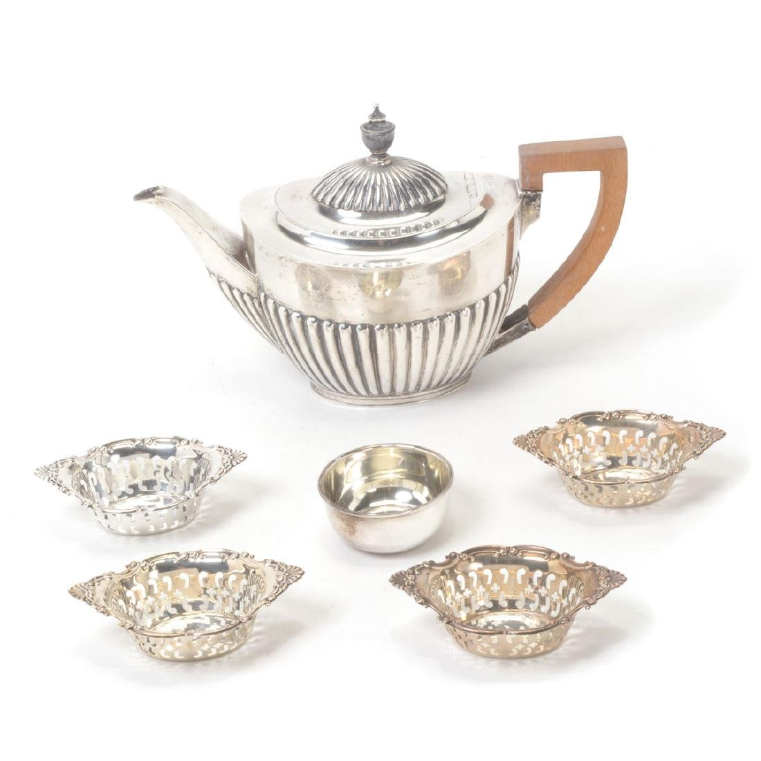 English Sterling Teapot, with Birks Nut Dishes,