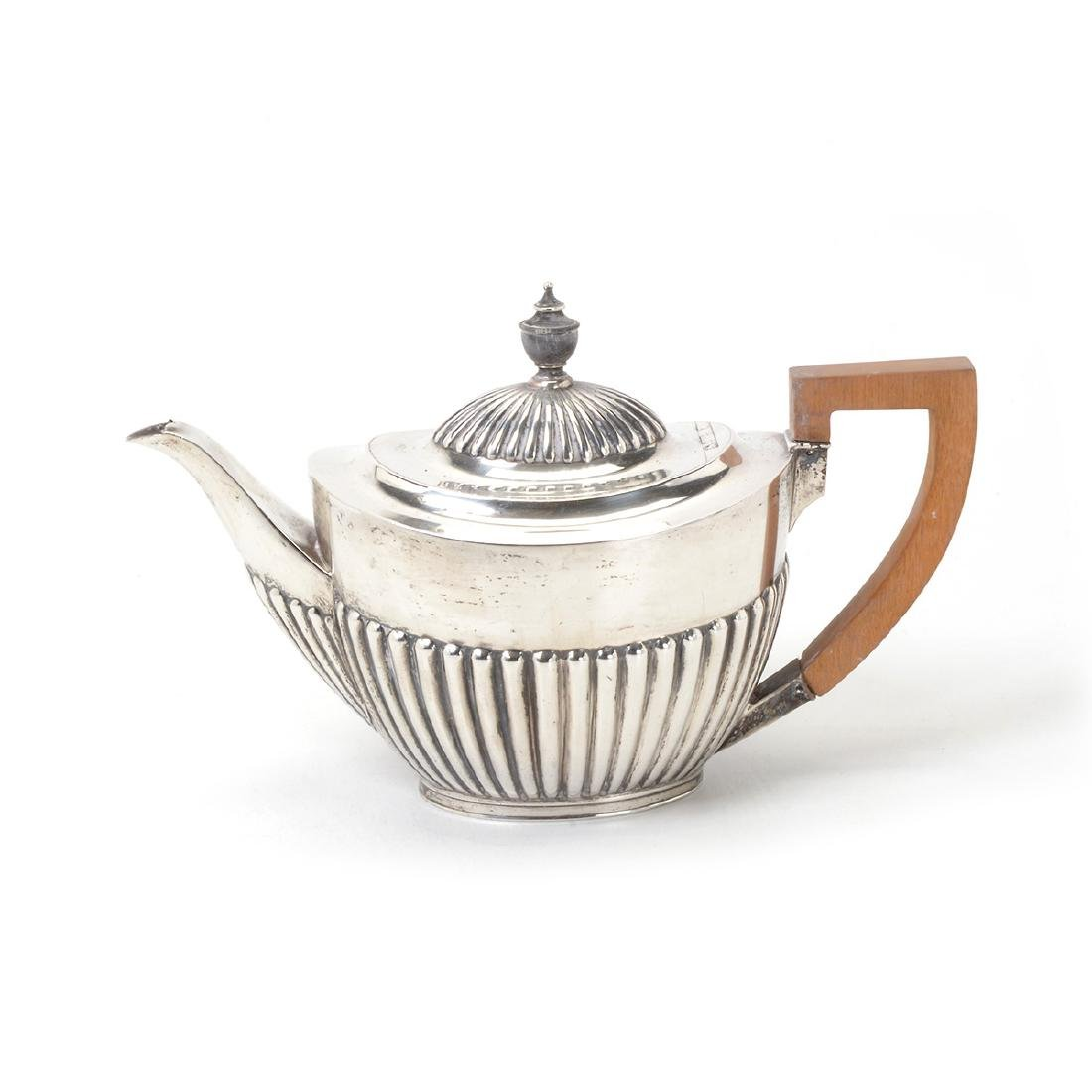 English Sterling Teapot, with Birks Nut Dishes, - 2